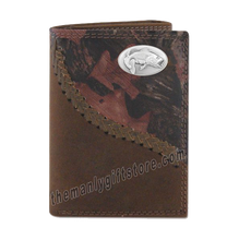 Load image into Gallery viewer, Largemouth Bass Fence Row Camo Genuine Leather Trifold Wallet