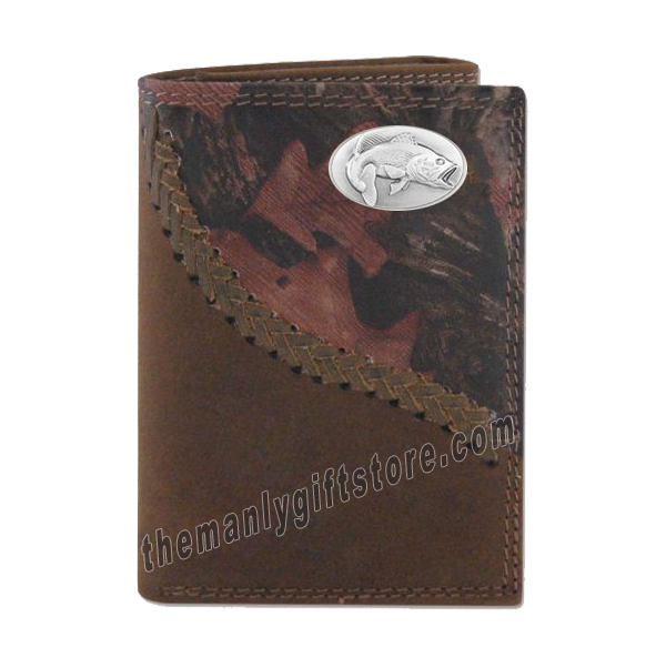 Largemouth Bass Fence Row Camo Genuine Leather Trifold Wallet