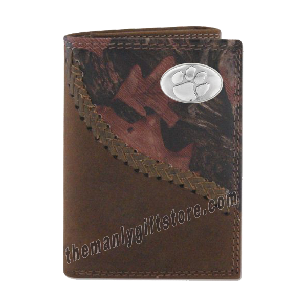 Clemson Tigers Fence Row Camo Genuine Leather Trifold Wallet