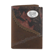 Load image into Gallery viewer, Buck Deer Fence Row Camo Genuine Leather Trifold Wallet
