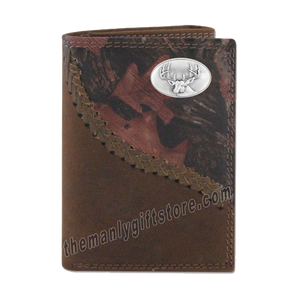 Buck Deer Fence Row Camo Genuine Leather Trifold Wallet