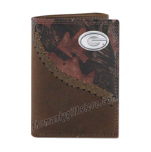 Load image into Gallery viewer, Georgia Bulldogs Fence Row Camo Genuine Leather Trifold Wallet