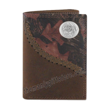 Load image into Gallery viewer, Georgia Bulldogs Mascot Fence Row Camo Genuine Leather Trifold Wallet