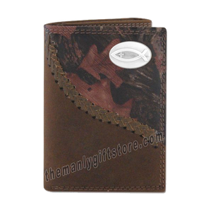 Ichthys Christian Fish Fence Row Camo Leather Trifold Wallet