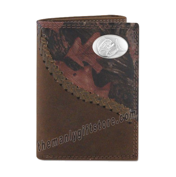 Dolphin Mahi Mahi Fence Row Camo Genuine Leather Trifold Wallet