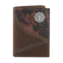 Load image into Gallery viewer, Maltese Cross Fireman Fence Row Camo Genuine Leather Trifold Wallet