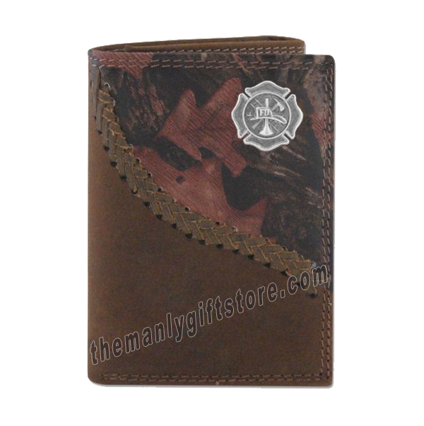 Maltese Cross Fireman Fence Row Camo Genuine Leather Trifold Wallet