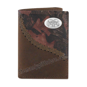 Mississippi State Bulldogs Fence Row Camo Genuine Leather Trifold Wallet