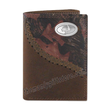 Load image into Gallery viewer, Mossy Oak Logo Fence Row Camo Genuine Leather Trifold Wallet