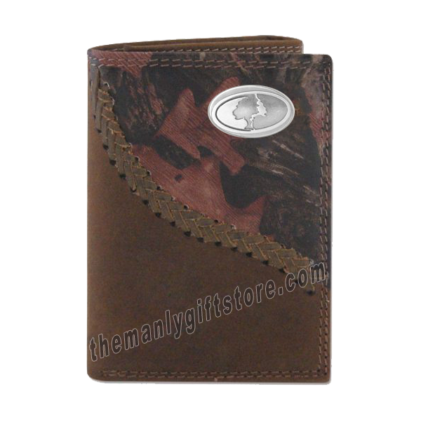 Mossy Oak Logo Fence Row Camo Genuine Leather Trifold Wallet