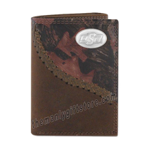 Load image into Gallery viewer, OSU Oklahoma State Fence Row Camo Genuine Leather Trifold Wallet