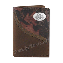 Load image into Gallery viewer, Ohio State Buckeyes Fence Row Camo Genuine Leather Trifold Wallet