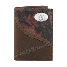 Load image into Gallery viewer, Oklahoma Sooners Fence Row Camo Genuine Leather Trifold Wallet