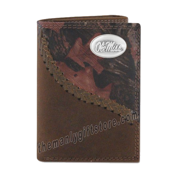 Ole Miss Rebels Fence Row Camo Genuine Leather Trifold Wallet