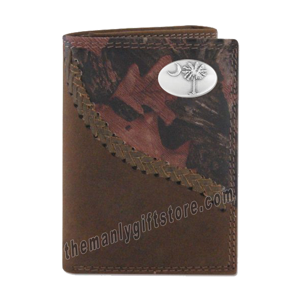 South Carolina Palmetto Tree Fence Row Camo Leather Trifold Wallet
