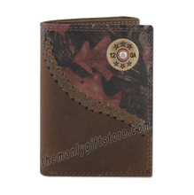 Load image into Gallery viewer, Shotgun Shell Fence Row Camo Genuine Leather Trifold Wallet