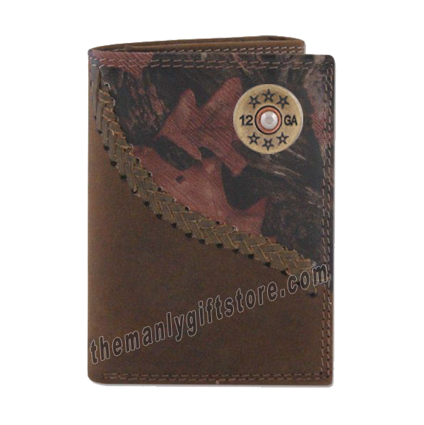 Shotgun Shell Fence Row Camo Genuine Leather Trifold Wallet