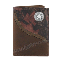 Load image into Gallery viewer, Texas Star Fence Row Camo Genuine Leather Trifold Wallet