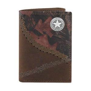 Texas Star Fence Row Camo Genuine Leather Trifold Wallet