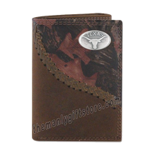 Load image into Gallery viewer, Texas Longhorns Fence Row Camo Genuine Leather Trifold Wallet