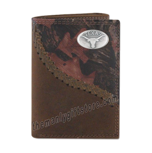 Texas Longhorns Fence Row Camo Genuine Leather Trifold Wallet