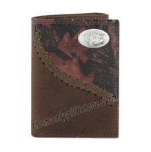 Load image into Gallery viewer, Turkey Strutting Fence Row Camo Leather Trifold Wallet