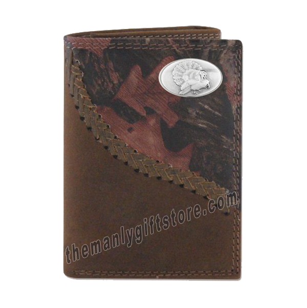 Turkey Strutting Fence Row Camo Leather Trifold Wallet