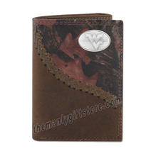 Load image into Gallery viewer, West Virginia Fence Row Camo Leather Trifold Wallet
