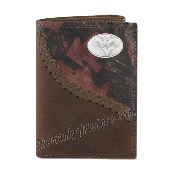 West Virginia Fence Row Camo Leather Trifold Wallet