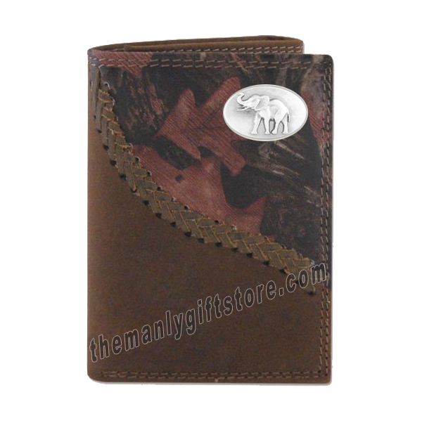 Elephant Alabama Fence Row Camo Genuine Leather Trifold Wallet
