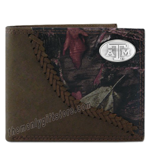 Brown NCAA Texas A/&M Aggies Zep-Pro Pull-Up Leather Trifold Embossed Wallet