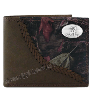 Alabama Crimson Tide Fence Row Camo Leather Bifold Wallet