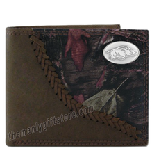 Load image into Gallery viewer, Arkansas Razorbacks Fence Row Camo Leather Bifold Wallet
