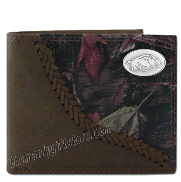 Arkansas Razorbacks Fence Row Camo Leather Bifold Wallet