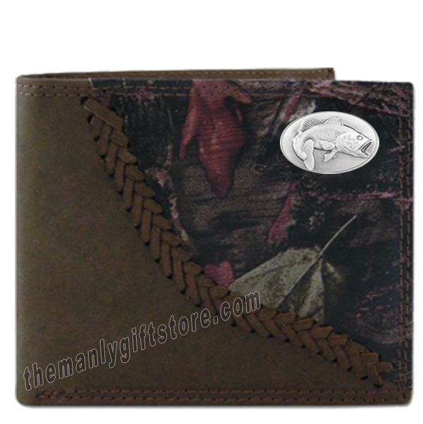 Largemouth Bass Fence Row Camo Genuine Leather Bifold Wallet
