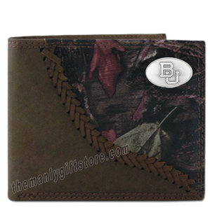Baylor Bears Fence Row Camo Genuine Leather Bifold Wallet