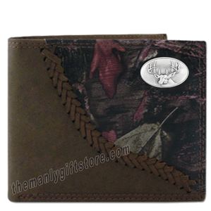 Buck Deer Fence Row Camo Genuine Leather Bifold Wallet