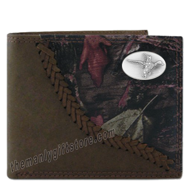 Flying Duck Fence Row Camo Genuine  Leather Bifold Wallet