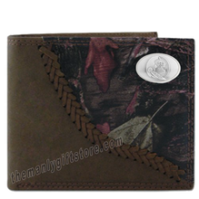 Load image into Gallery viewer, Florida State Seminoles FSU Fence Row Camo Leather Bifold Wallet
