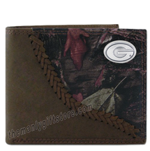 Load image into Gallery viewer, Georgia Bulldogs Fence Row Camo Genuine  Leather Bifold Wallet