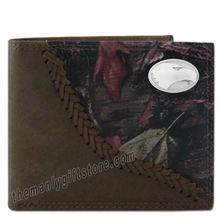 Load image into Gallery viewer, Georgia Southern Eagles Fence Row Camo Genuine  Leather Bifold Wallet