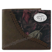 Load image into Gallery viewer, Georgia Tech Yellow Jackets  Fence Row Camo Leather Bifold Wallet
