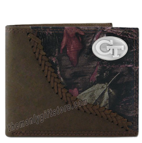 Georgia Tech Yellow Jackets  Fence Row Camo Leather Bifold Wallet