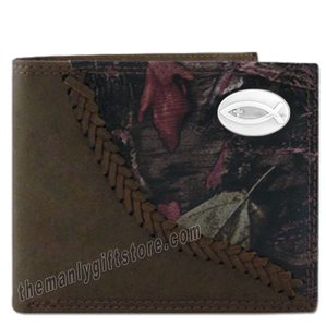 Ichthys Christian Fish Fence Row Camo Genuine Leather Bifold Wallet