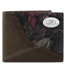 Load image into Gallery viewer, Louisiana State University LSU Fence Row Camo Leather Bifold Wallet