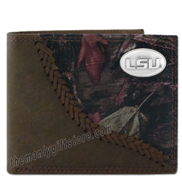 Louisiana State University LSU Fence Row Camo Leather Bifold Wallet