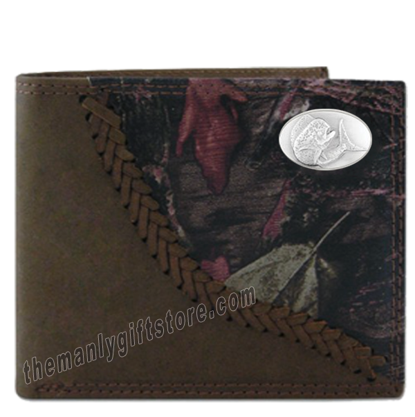 Dolphin Mahi Mahi Fence Row Camo Genuine Leather Bifold Wallet