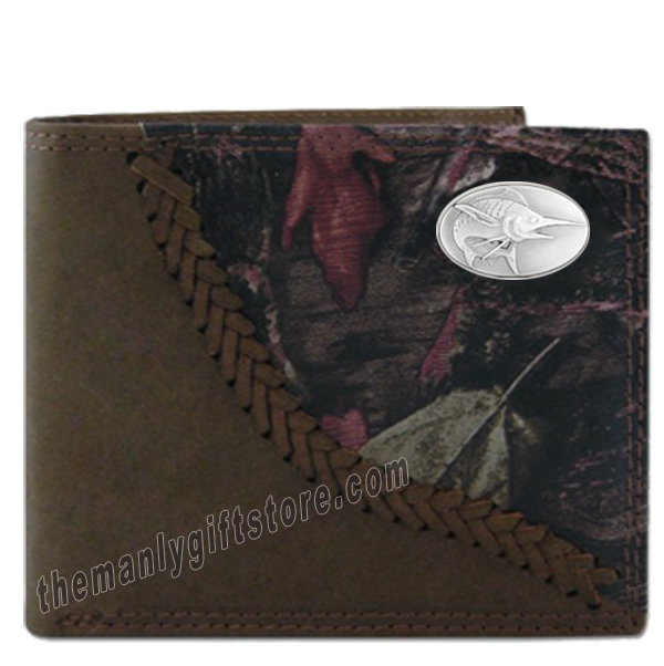 Marlin Saltwater Fish Fence Row Camo Genuine Leather Bifold Wallet