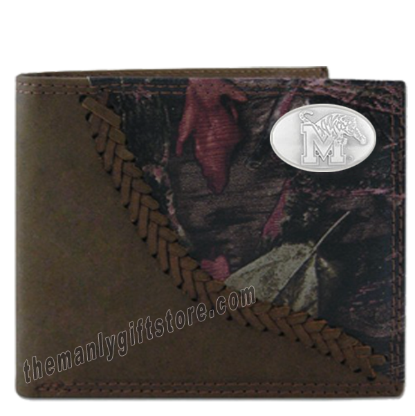 Memphis Tigers Fence Row Camo Genuine Leather Bifold Wallet