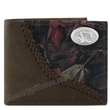 Load image into Gallery viewer, Missouri Tigers Fence Row Camo Genuine Leather Bifold Wallet